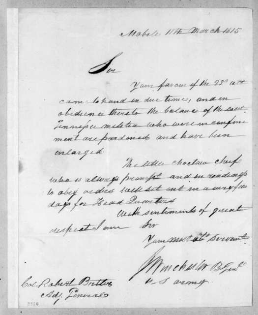 James Winchester to Robert Butler, March 11, 1815
