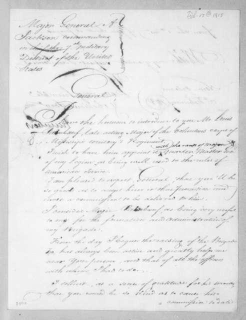 Jean Joseph Amable Humbert to Andrew Jackson, February 17, 1815