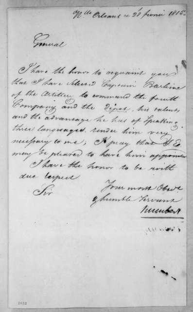 Jean Joseph Amable Humbert to Andrew Jackson, February 28, 1815