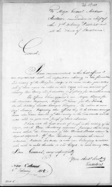 Jean Joseph Amable Humbert to Andrew Jackson, February 5, 1815