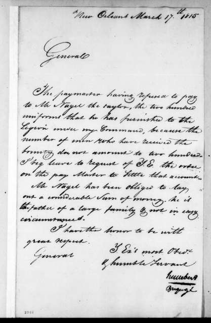 Jean Joseph Amable Humbert to Andrew Jackson, March 17, 1815