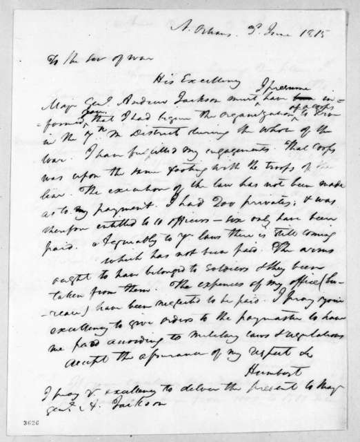 Jean Joseph Amable Humbert to James Monroe, June 3, 1815