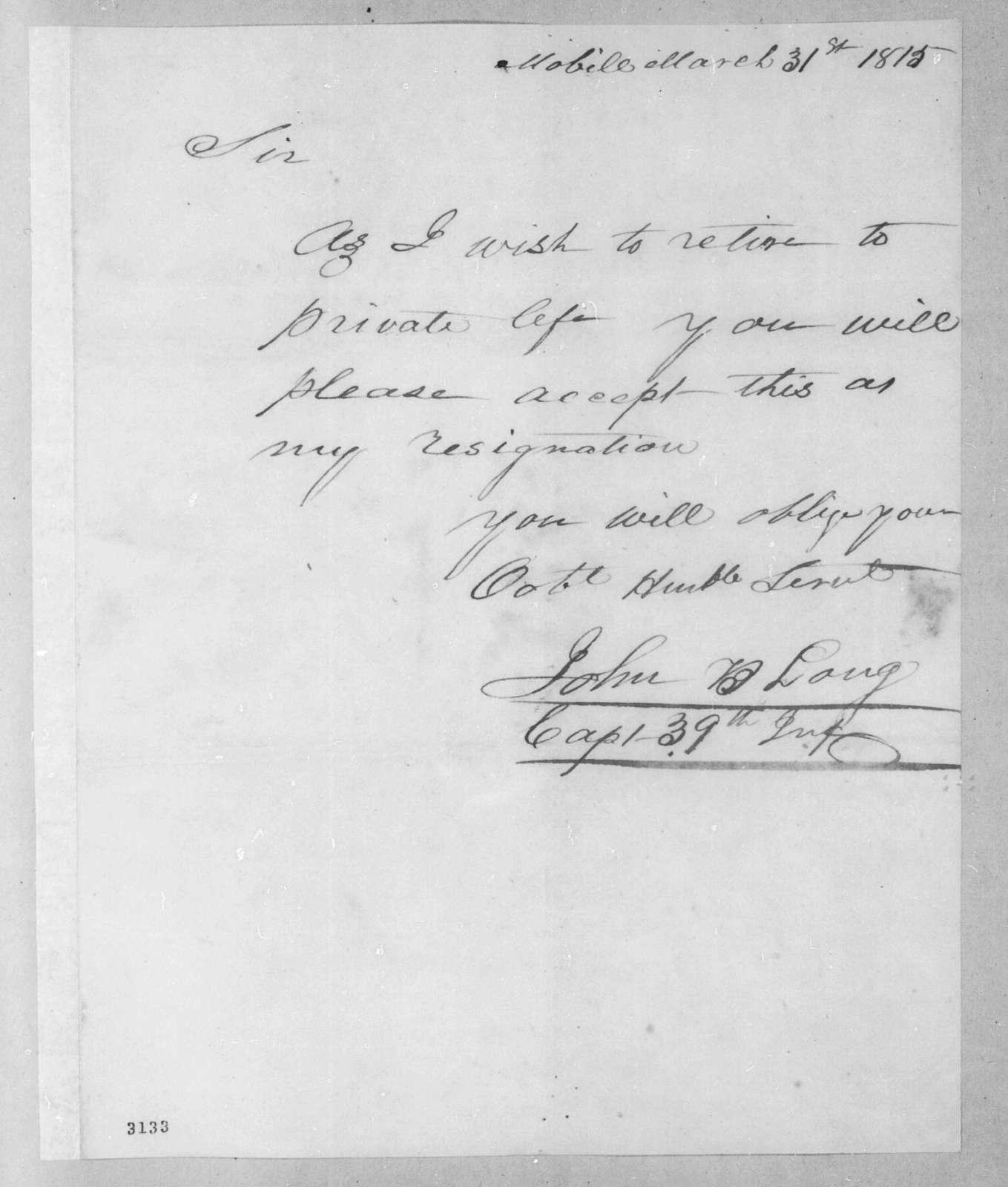 John B. Long to Andrew Jackson, March 31, 1815