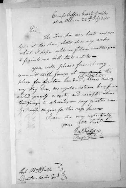 John Coffee to William Piatt, February 22, 1815