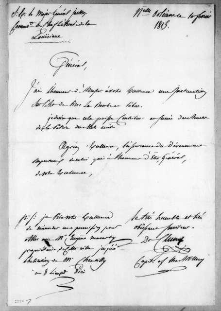 John Davis DeCluny to Andrew Jackson, February 10, 1815