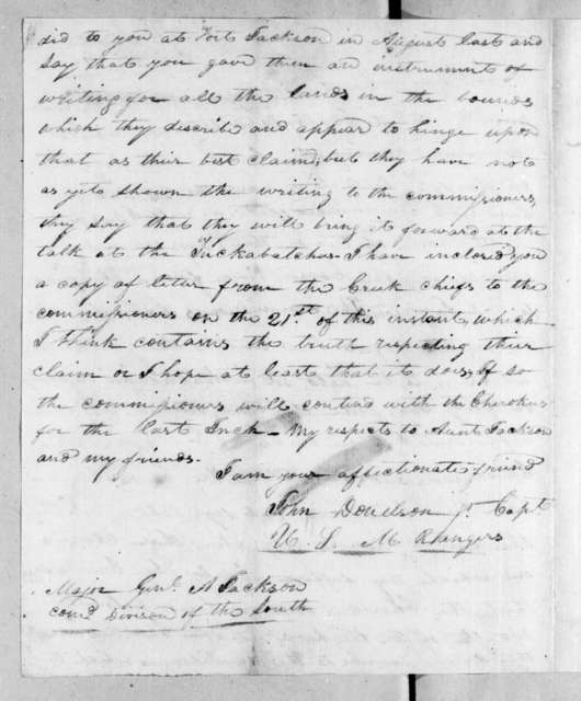 John Donelson to Andrew Jackson, July 23, 1815