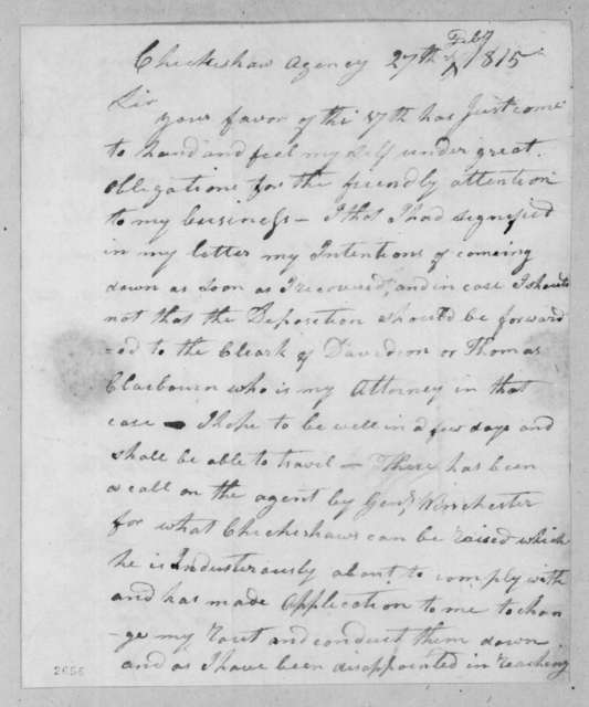 John Gordon to Andrew Jackson, February 27, 1815