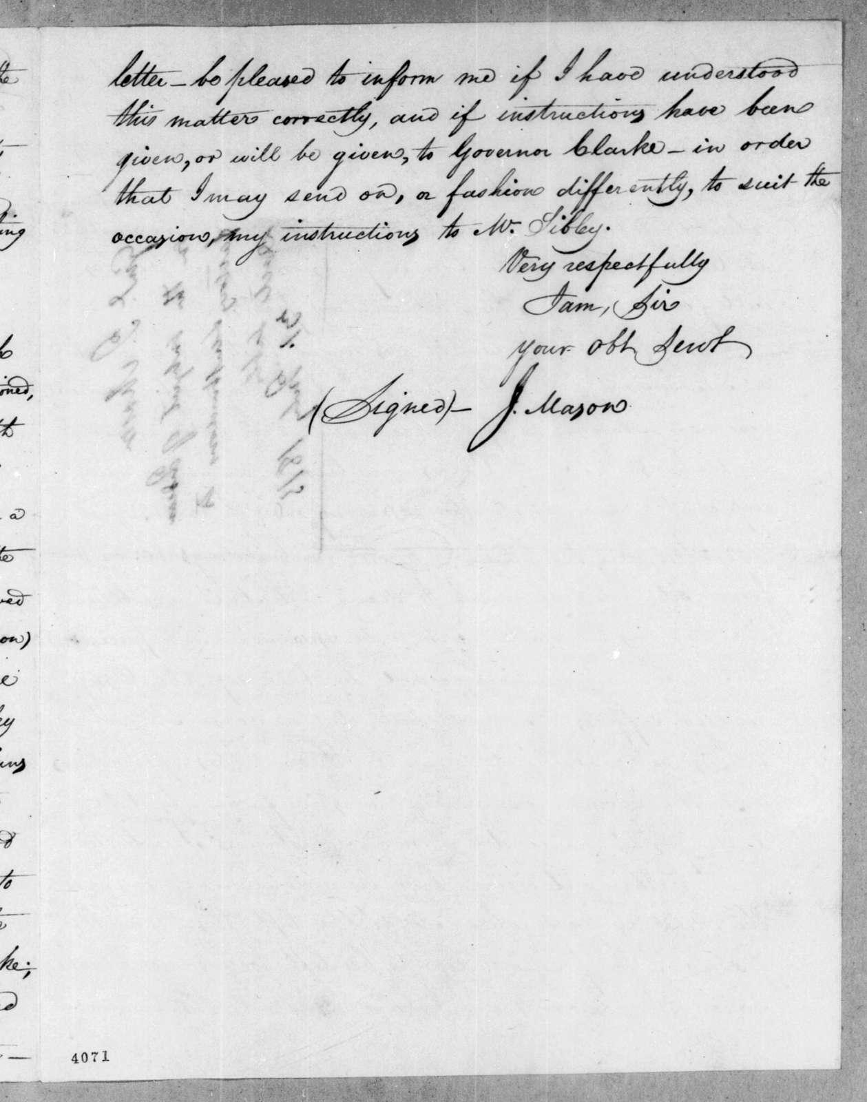 John Mason to George Graham, July 31, 1815