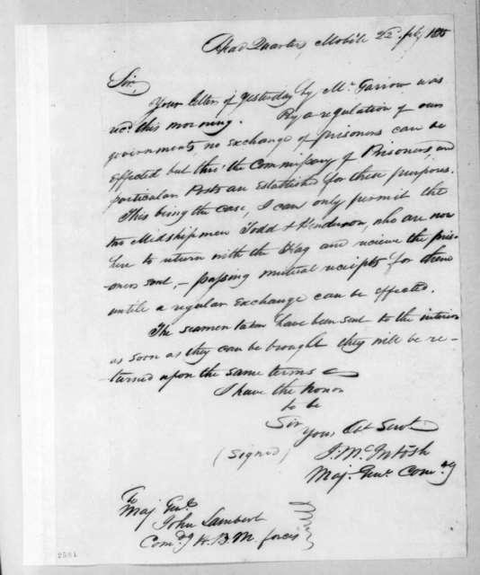 John McIntosh to John Lambert, February 22, 1815