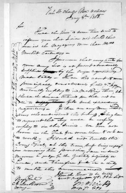 John Nicks to Andrew Jackson, January 8, 1815