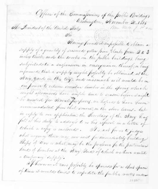 John P. Van Ness to James Madison, November 20, 1815. Signed by Tench Ringgold, Richard Brand Lee, The Commissioners of Public Buildings.