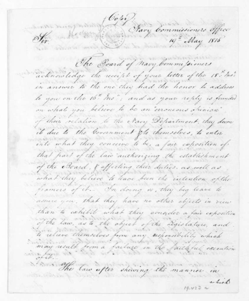 John Rodgers to Benjamin W. Crowninshield, May 19, 1815. From the Navy Department Commissioners, includes copy.
