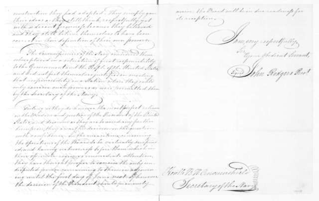 John Rodgers to Benjamin W. Crowninshield, May 23, 1815. From the Navy Department Commissioner, includes a copy.
