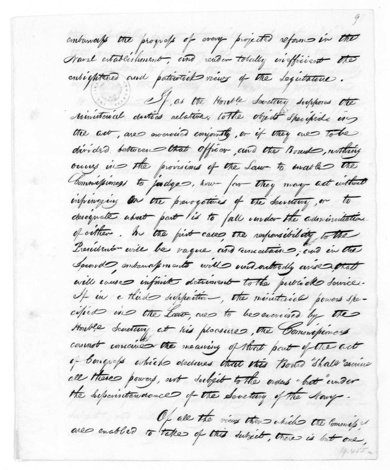 John Rodgers to James Madison, May 25, 1815. From the Navy Department Commissioners
