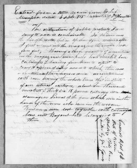 John S. Smallwood to Edmund Pendleton Gaines, September 17, 1815