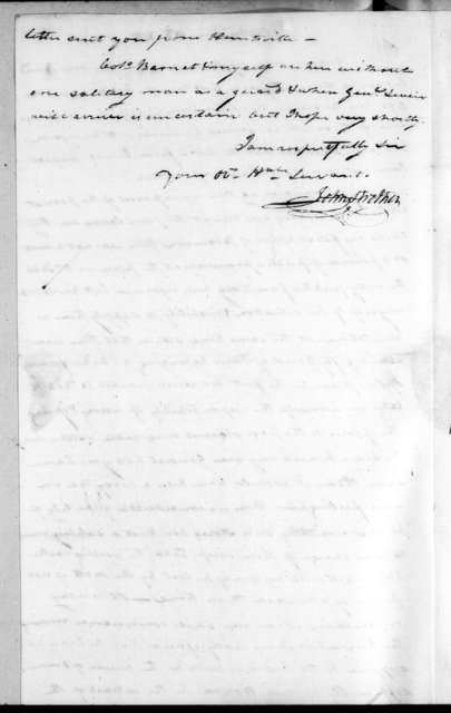 John Strother to Andrew Jackson, June 10, 1815