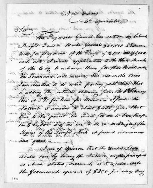 John T. Pemberton to Andrew Jackson, April 4, 1815