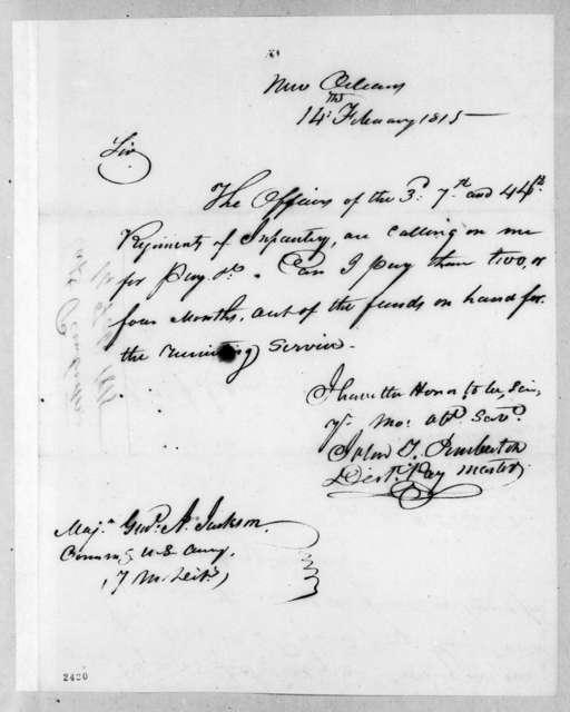 John T. Pemberton to Andrew Jackson, February 14, 1815