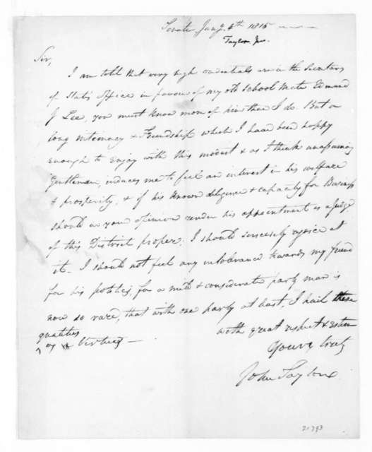John Taylor to James Madison, January 4, 1815.