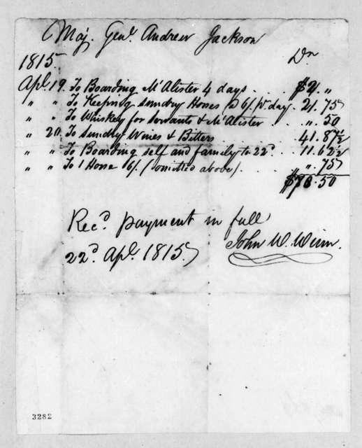 John W. Winn to Andrew Jackson, April 22, 1815