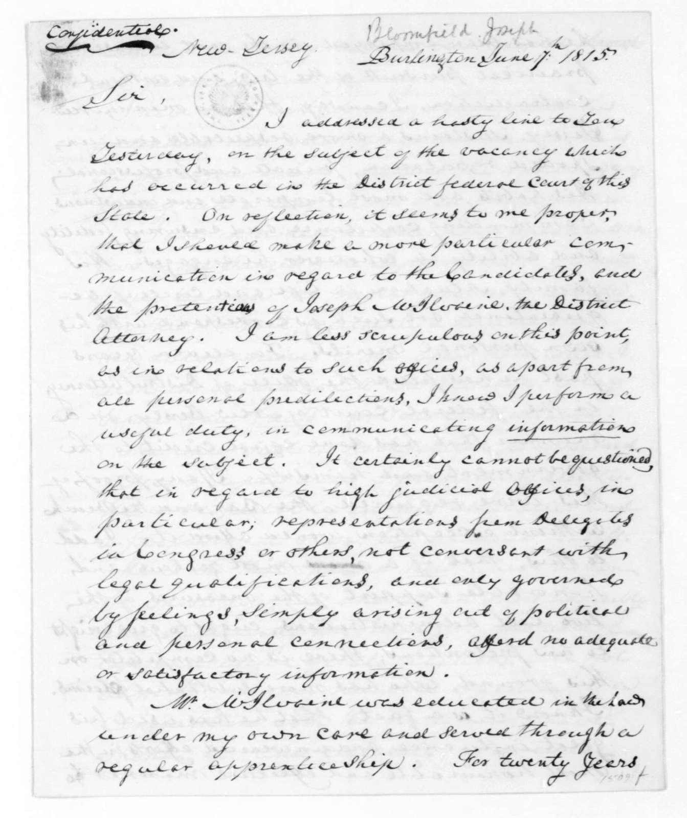 Joseph Bloomfield to James Madison, June 7, 1815.