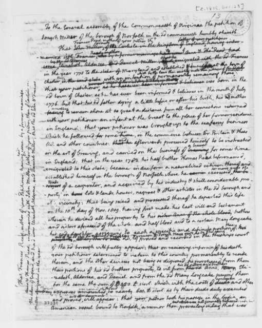 Joseph Miller to Virginia General Assembly, December 23, 1815, Petition