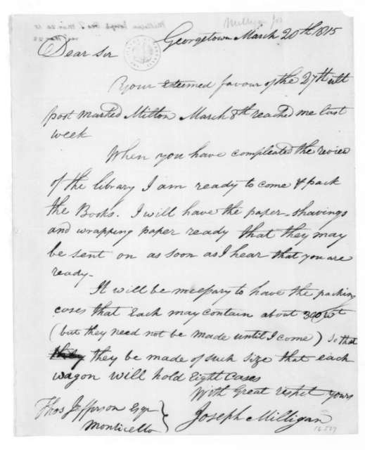 Joseph Milligan to Thomas Jefferson, March 20, 1815.