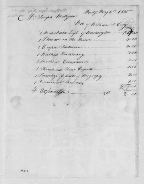 Joseph Milligan to Thomas Jefferson, May 6, 1815, with Invoice