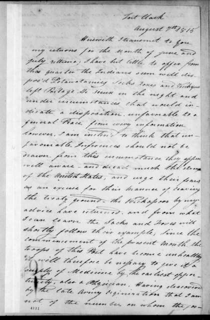 Joseph Philips to Unknown, August 7, 1815