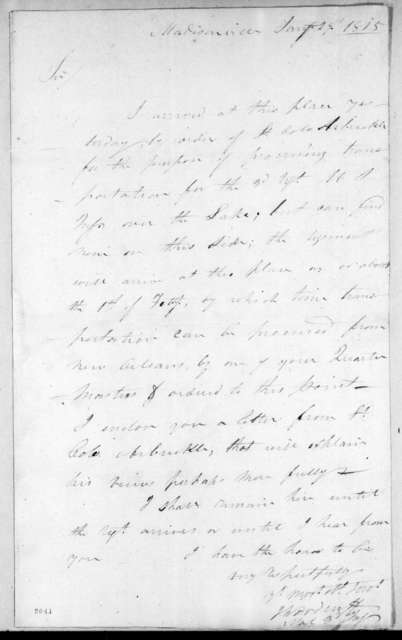 Joseph Woodruff to Andrew Jackson, January 29, 1815