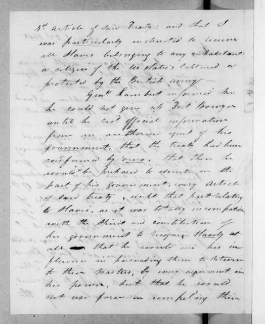 Joseph Woodruff to Andrew Jackson, March 23, 1815