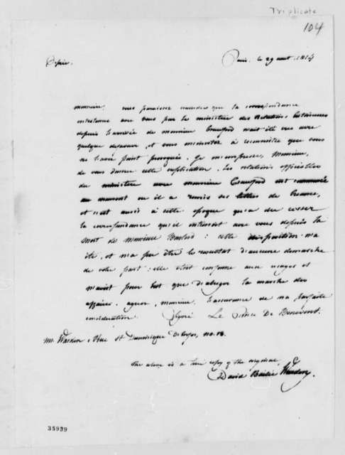 L. P. de Benevento to David B. Warden, August 29, 1815, in French