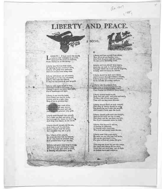 Liberty and peace. A song [Cuts] [Two columns of verse] [1815].