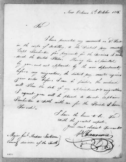 Louis Chauveau to Andrew Jackson, October 6, 1815