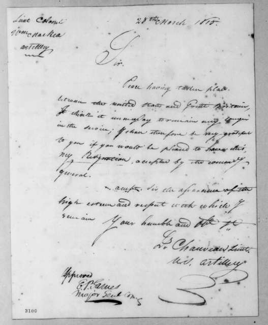 Louis Chauveau to William MacRea, March 28, 1815