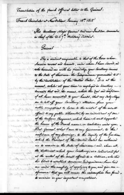 Louis de Tousard to Andrew Jackson, January 18, 1815