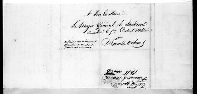 Louis de Tousard to Andrew Jackson, March 6, 1815