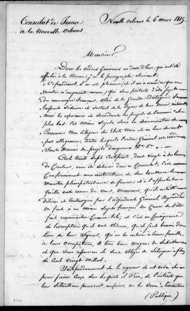 Louis de Tousard to Andrew Jackson, March 6, 1815