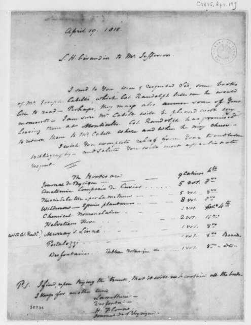 Louis H. Girardin to Thomas Jefferson, April 19, 1815, with List of Books