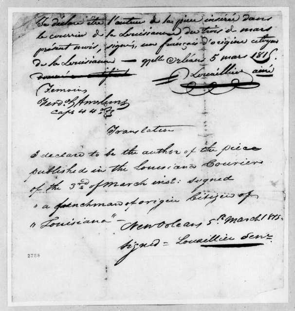 Louis Louaillier, March 5, 1815
