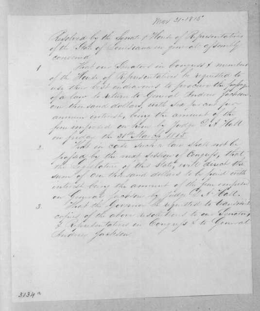 Louisiana Legislature resolutions March 31, 1815