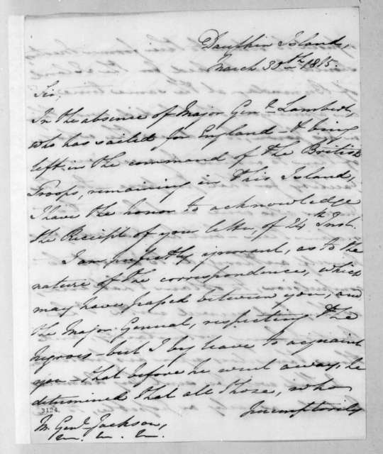 Manley Powers to Andrew Jackson, March 30, 1815