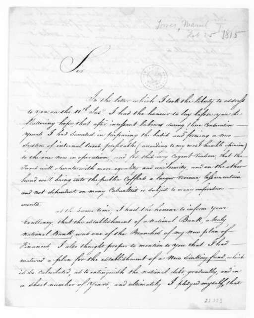 Manuel Torres to James Madison, February 25, 1815.