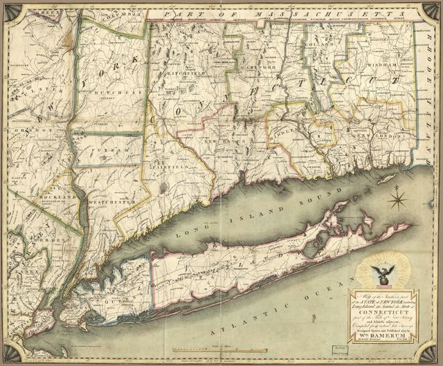 Map of the southern part of the state of New York including Long Island, the Sound, the state of Connecticut, part of the state of New Jersey, and islands adjacent : compiled from actual late surveys /