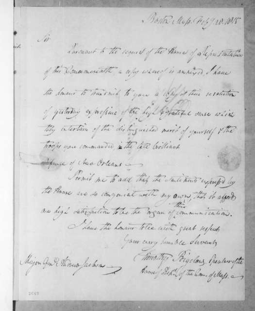 Massachusetts House of Representatives to Andrew Jackson, February 27, 1815