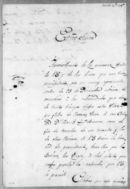 Mateo Gonzalez Manrique to Andrew Jackson, March 4, 1815