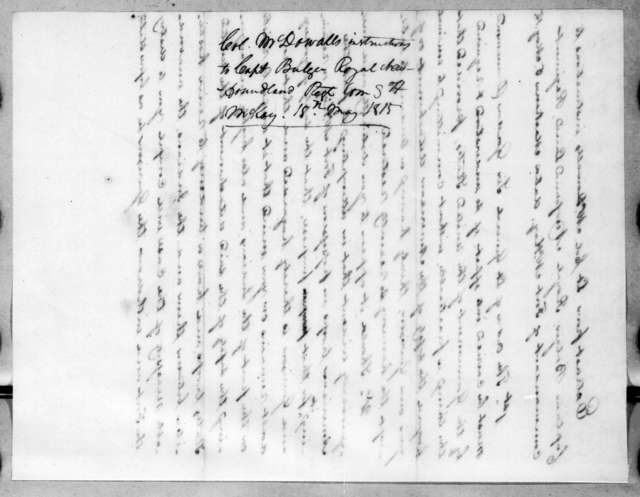 McDowall to Andrew H. Bulger, May 15, 1815