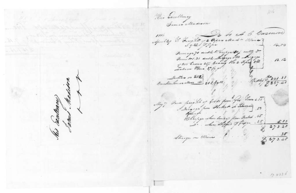 Murdock, Yuille, Wardrop & Co. to James Madison, May 13, 1815. With Accounts-Wine.