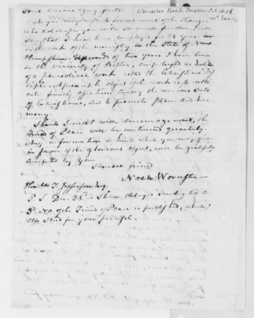 Noah Worcester to Thomas Jefferson, October 18, 1815