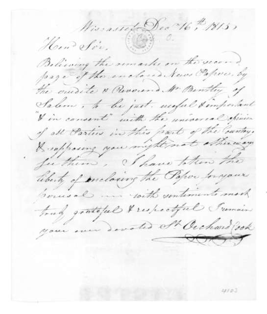 Orchard Cook to James Madison, December 16, 1815.
